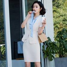 亿族 夏季新款短袖西服OL正装女装工作服时尚气质职业套装