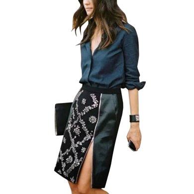 tobebery高腰中裙套裝包臀女2020春裝新款顯瘦時尚半身裙襯衫兩件套