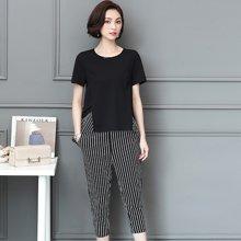 亿族 2018夏季新款拼色条纹短袖T恤条纹七分裤大码女装套装