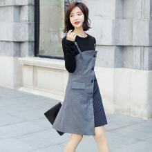 轩品媛  韩版时尚秋季女装新款套装裙不对称撞色吊带条纹连衣裙百搭长袖T恤两件套 11001903