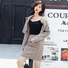 轩品媛  2019年春秋季复古格子套装裙短款长袖外套中腰半身包臀裙两件套 11001907