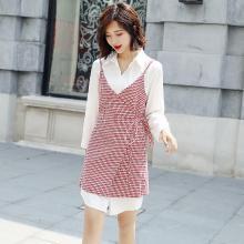 轩品媛  春秋季女装新款套装裙格子收腰吊带连衣裙中长款白衬衫两件套 11001906