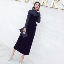 姝奕实拍2018秋冬新款时髦中长款丝绒吊带套装两件套WM9663