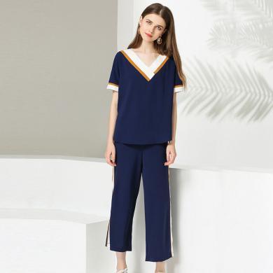 億族 夏季新款大碼女胖MM洋氣減齡拼色兩件套短袖+七分闊腿褲套裝