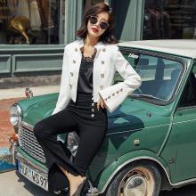 轩品媛  微喇袖潮流拼接时尚气质双排2018年秋季西装两件套  X601889