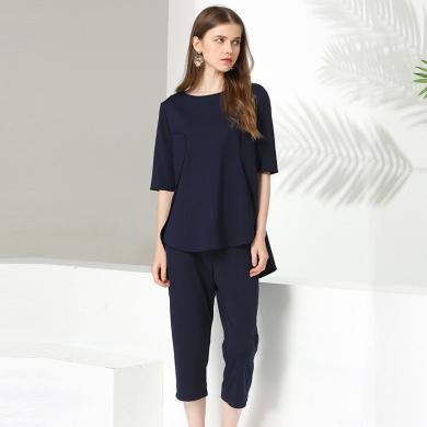 億族 夏季新款純色短袖寬松上衣+七分褲胖MM大碼女裝套裝兩件套