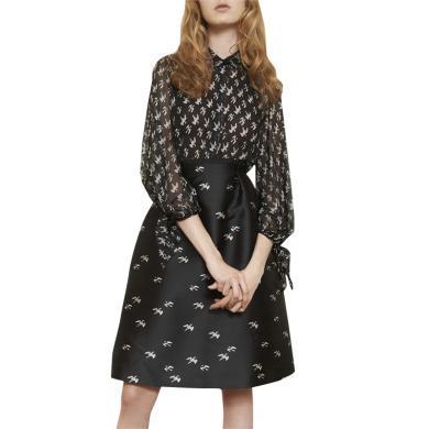 tobebery2020春季新款時尚套裝裙印花七分袖襯衫半身裙洋氣兩件套