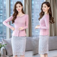芃拉实拍秋季新款女套装针织衫两件套毛衣蕾丝半身裙中长裙YMZJ8129