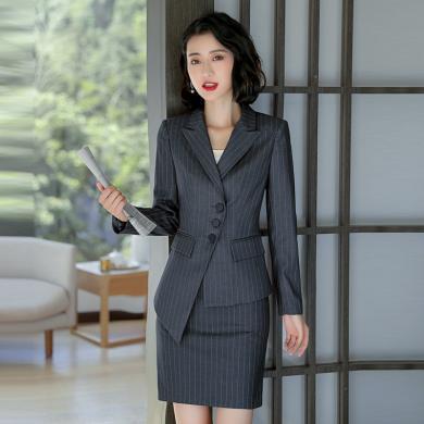 億族 西裝兩件套女秋冬裝新款時尚英倫風條紋西服+西裙氣質職業套裝女