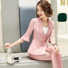 妙芙琳 2019春夏季两件套小个子西装外套+修身西裤七分裤女显瘦韩版荷叶边西装套装女