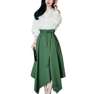 tobeber秋季白色襯衫女不規則半身裙兩件套2020高腰減齡裙子時尚洋氣套裝