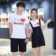 亿族 夏季新款时尚休闲宽松情侣装两件套印花T恤+背带短裤情侣套装男女款