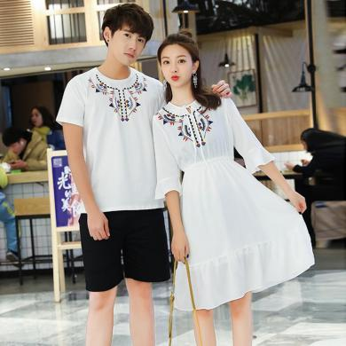 億族 情侶裝夏季新款時尚韓范短袖T恤+短褲修身顯瘦荷葉邊連衣裙情侶套裝