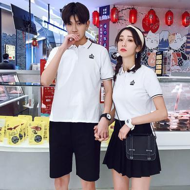 億族 夏季新款時尚減齡學院風情侶裝修身翻領短袖T恤+百褶裙情侶套裝
