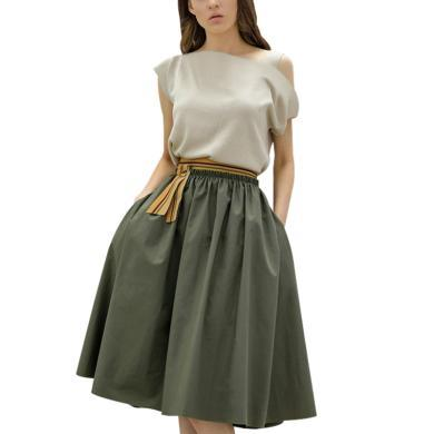 時尚氣質小香風套裝裙女2019新款夏裝不對稱露肩上衣傘裙兩件套裙