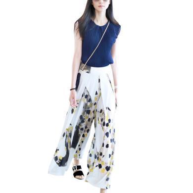 洋氣T恤長款印花闊腿褲時尚套裝2019夏季新款歐洲站時尚兩件套潮