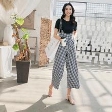 搭歌2019夏季新款小清新吊带格子阔腿裤+短袖T恤两件套女装 A2213