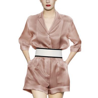 歐美時尚氣質大方套裝2019夏裝新款高腰闊腿短褲套裝闊太太兩件套