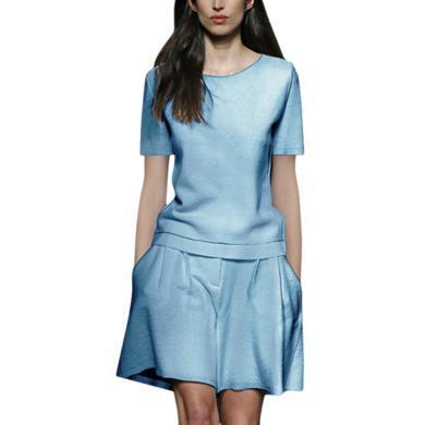 港味御姐洋氣套裝純色冷淡風短袖T恤時尚夏裝套裝休閑短褲兩件套