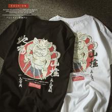 NewmanCity2019新款短袖体恤男韩版潮流猪年体恤情侣装春装嘻哈QL15