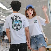 NewmanCity2019夏季短袖情侣装潮?#29942;?#36890;熊猫头短袖印花t恤QL5