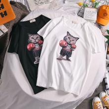 NewmanCity2019春夏季新短袖T恤男士青少年宽松学生体恤情侣装猫咪QL22