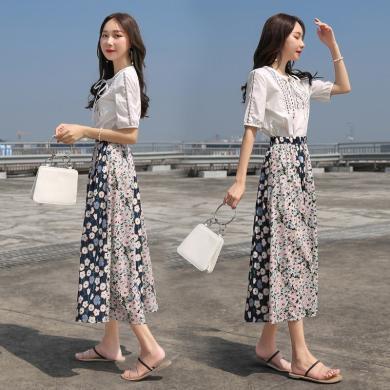 MUYANG夏季新款韩版清新甜美T恤碎花裙子两件套9399