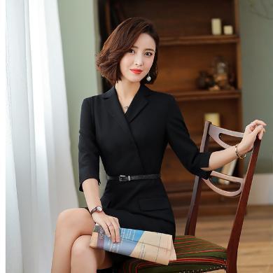 NewmanCity春裝新款氣質連衣裙修身OL通勤 包臀職業裝酒店工作服女ZY16