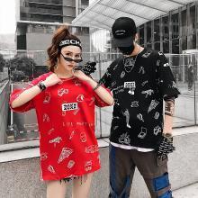 NewmanCity情侣装 韩版休闲圆领印花国潮嘻哈短袖T恤QL13