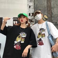 NewmanCity韩国ins搞怪汤姆卡通女式T恤阿美咔叽bf风宽松短袖情侣衫QL12