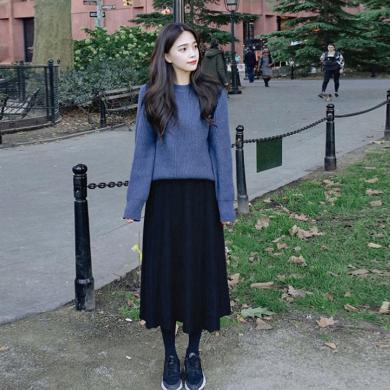 姝奕2019新款秋冬毛衣加配裙子洋氣小香風套裝網紅兩件套HD-C124