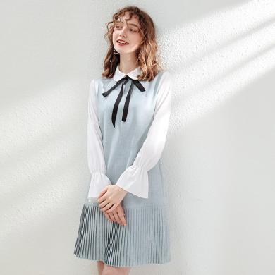 刊菲  2019秋季新款女装娃娃领喇叭袖百褶裙淑女连衣裙假两件 63376