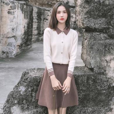 姝奕2019年新款韩版套装裙秋天学生两件套气质显瘦少女洋气女装HD5373