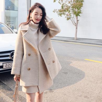 姝奕秋冬女套装2019小个子外套羊绒中长款人字纹毛呢裙HD-W011