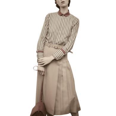 港味復古套裝裙2019秋季新款御姐條紋襯衣百褶半身裙輕熟風兩件套