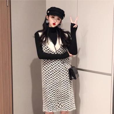 姝奕2019新款秋裝長袖氣質針織毛衣裙子兩件套小香風顯瘦連衣裙HD8139
