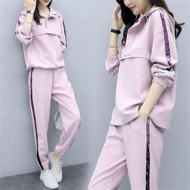 CAVS秋裝2019年新款時尚運動服套裝女粉色韓版寬松衛衣春秋休閑兩件套HF5177