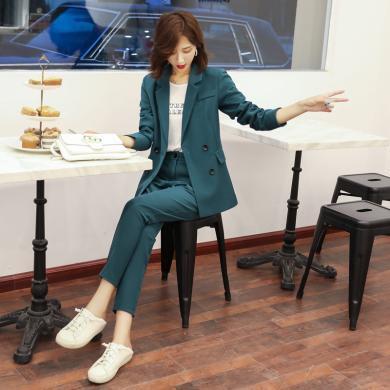 瀾囝囡 2019秋季新款女裝氣質OL雙排扣修身小西裝休閑褲兩件套西服套裝女   977