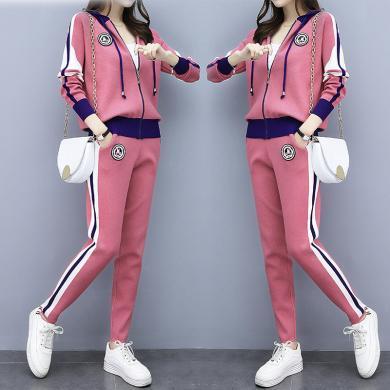 妙芙琳 2019秋季女裝新款針織休閑運動服套裝女時尚洋氣兩件套