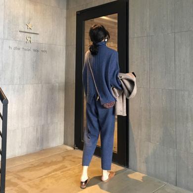 CAVS2019秋冬季寬松針織套裝女港味套頭毛衣配闊腿褲兩件套HD4844