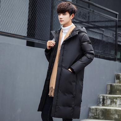 魔力怪车  2019冬装羽绒服男装中长款过膝大衣韩版加厚修身青年潮外套连帽