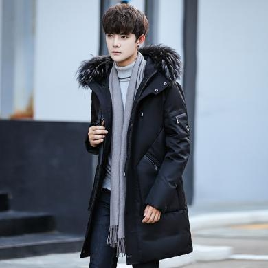 魔力怪车  2019冬季新款羽绒服男装中长款韩版加厚连帽毛领男士保暖外套