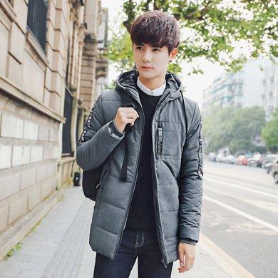 史克维斯冬季男士中长款棉衣韩版帅气加厚棉袄青年修身连帽棉服外套MH28
