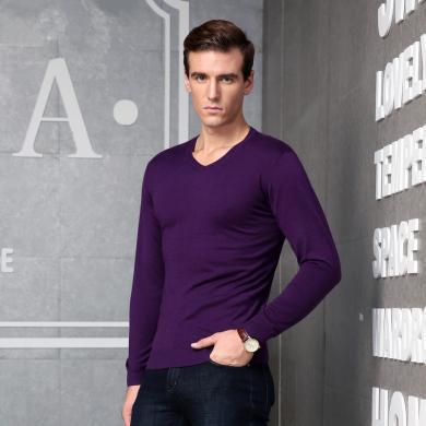 迪仕·尼奴秋季新品男士棉質T恤修身舒適打底衫男上衣針織衫0063