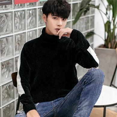史克維斯秋冬季新款毛衣男士韓版青年套頭高領撞色拼接針織線衫潮流Z1819nyh