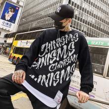 韩版嘻哈香港风情侣毛羊衣针织衫男女肥冬季宽松上衣国潮BF原宿风DWX-H068