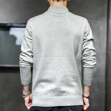 毛衣男士針織線衫保暖毛衣港風潮牌秋冬新款半高領毛衣男士保暖修身打底針織衫男裝線衣純色毛衣MLS-M810