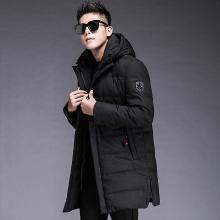 羽绒服男中长款时尚连帽中长款外套青年加厚衣冬季新款男士青少年FNM-A1913