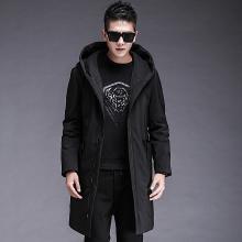 连帽外穿秋季时尚棉服韩版风新款男士中长款青年长款百搭羽绒服外套FNM-A18002