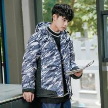 青少年仿羽绒男冬新款时尚潮流迷彩连帽保暖棉服学生夹克外套ZX-8829